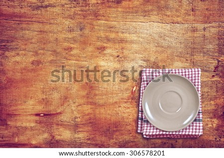 small plate served on table,top view - stock photo