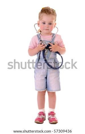 Small playful girl with stethoscope on white background - stock photo