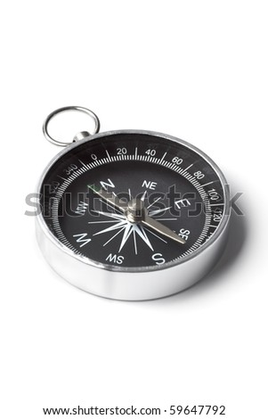 Small pocket compass isolated on white background - stock photo