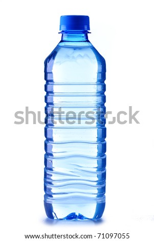 Small polycarbonate plastic bottle of mineral water isolated on white background - stock photo