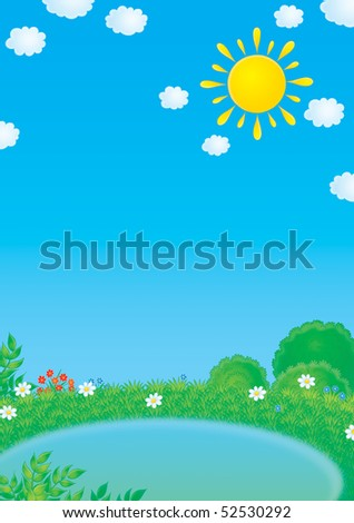 Small pond in summer - stock photo
