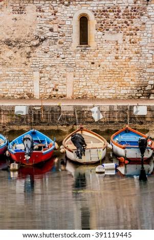 small port in the center of Lazise, Lake Garda, Verona, Italy - stock photo