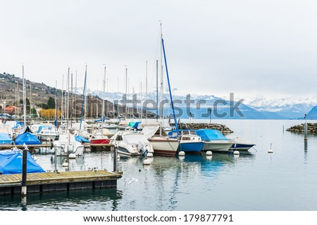 Small port on the lake Geneva