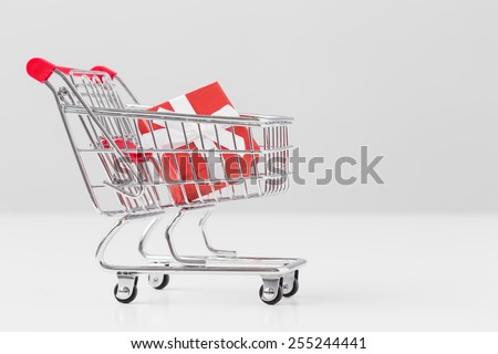Small present box in miniature shopping cart model