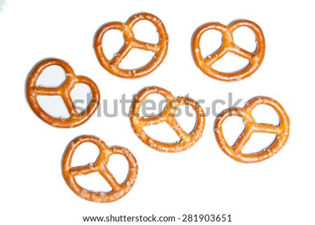 small pretzels isolated on white background - stock photo