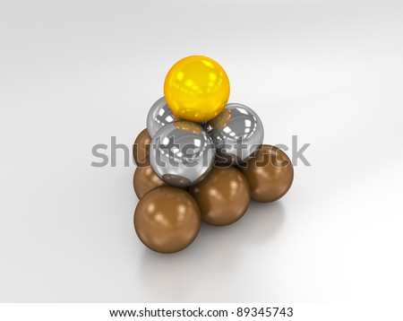 Small pyramid made of bronze, silver and golden balls.