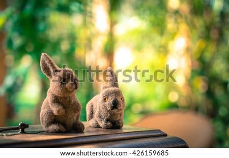 small rabbits soft toys - stock photo