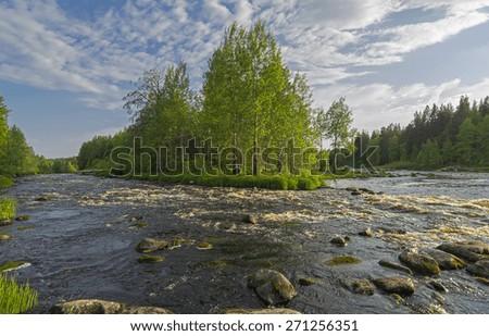 Small rapids on river Vig, Karelia, Russia. - stock photo