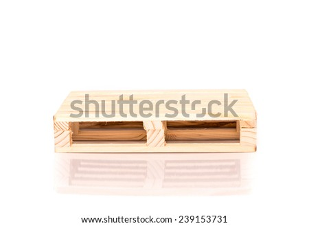 small rebuilt of a euro pallet with reflection isolated on white background - stock photo