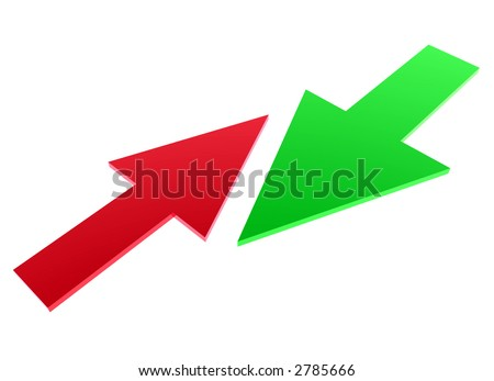 small red arrow against big green arrow - stock photo