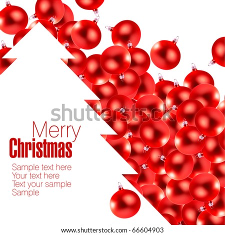 Small red christmas glass-balls and cwhite hristmas tree as a space for your text - stock photo