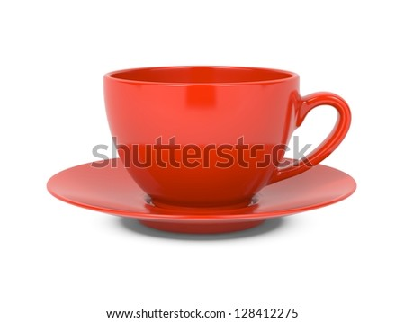 Small Red Coffee Cup Isolated on White Background. - stock photo