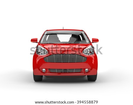 Small Red Compact Car - Front Closeup View - stock photo
