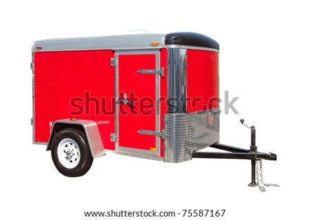 Small red enclosed trailer isolated on white - stock photo