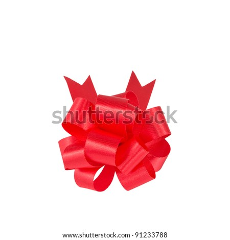 small red gift bow on white  background