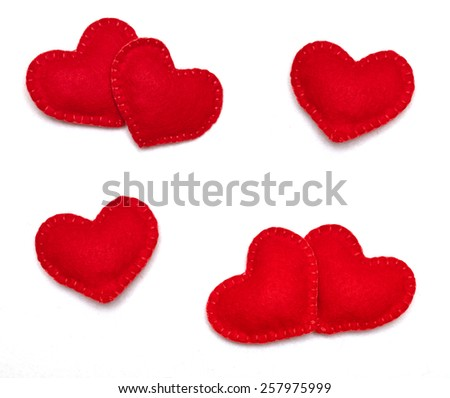 Small red hearts isolated on a white background - stock photo