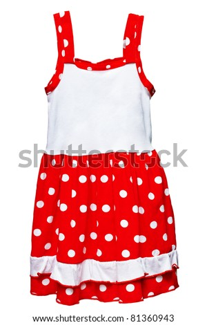 Small red polka dot dress for girls isolated on white background - stock photo