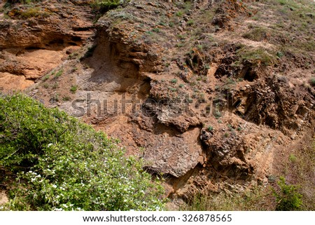 Small red rock in Crimea