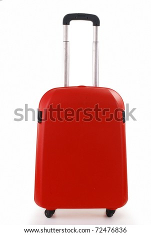 Small red suitcase isolated on white - stock photo