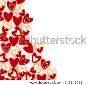 small red valentine velvet hearts on white background - stock photo