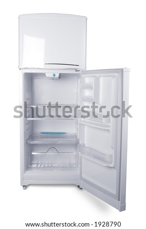 Small refrigerator in white background - stock photo