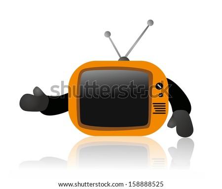 Small retro TV - stock photo
