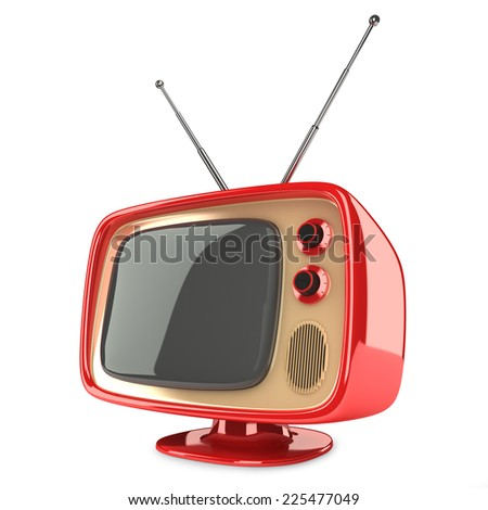 Small retro tv isolated on white background - stock photo