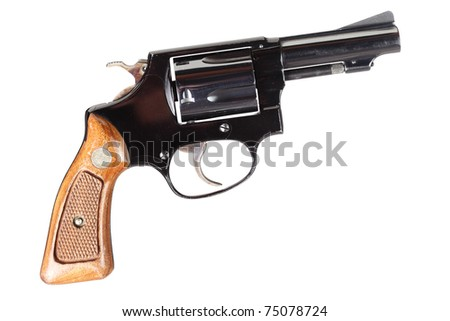 small revolver with signs of use isolated on white - stock photo