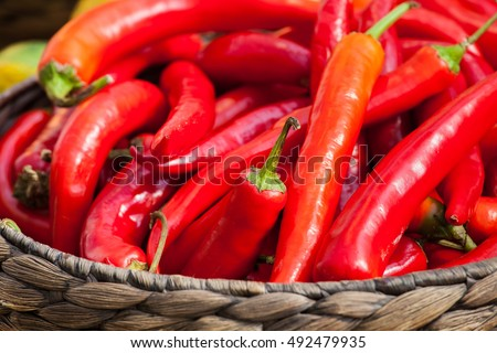 Small ripe chili red peppers in the basket. Autumn harvest background