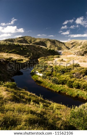 small river flowing through little valley in new zealand