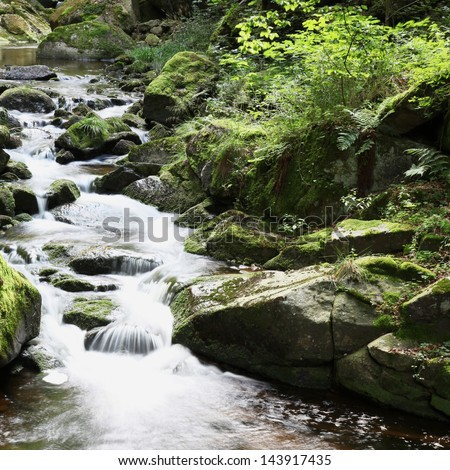 small river Ilse waterfalls floating through magical forest in german national Park Harz - stock photo