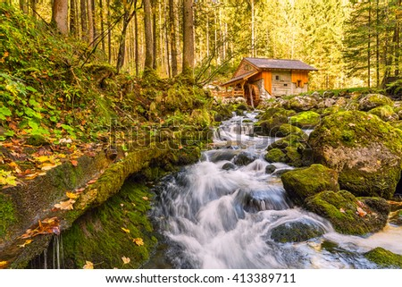 Small river in autumn forest, beautiful landscape - stock photo