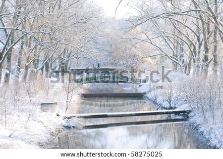 Small river in winter - stock photo