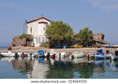 Small, romantic chapel at the seaside. Lesvos island, Greece - stock photo