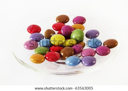 small round color candies on a plate - stock photo