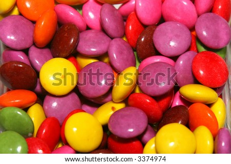 small round coloured chocolate candy