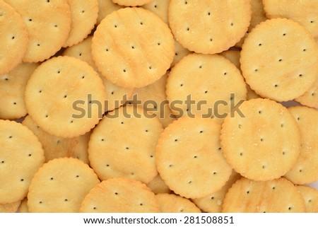 small round cracker background - stock photo