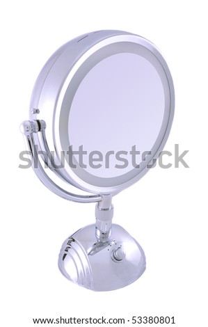 Small round looking glass (mirror) on white background