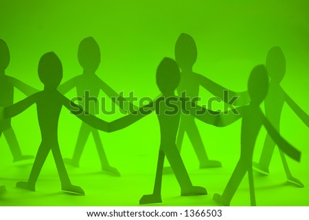 small rudimentary figures of man in paper - stock photo