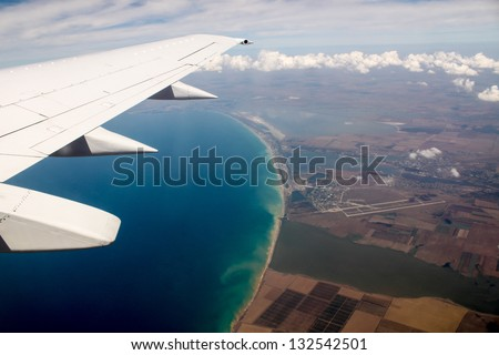 Small runway from the plane (in Crimea) - stock photo
