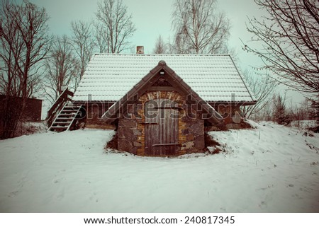 small rural cottage in winter in countryside - retro vintage look