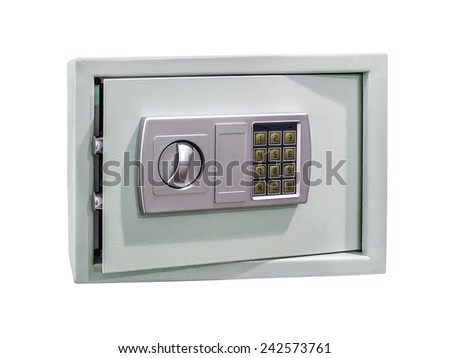 Small safe for home and office use with digital lock isolated on white.