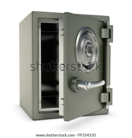 Small safe with password security. Design concept in 3D image. - stock photo