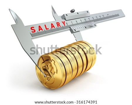 Small salary concept. Caliper measuring coins with dollar sign. 3d - stock photo
