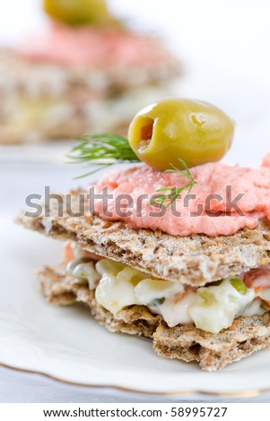 Small sandwiches for catering event on white plate and table cloth - stock photo