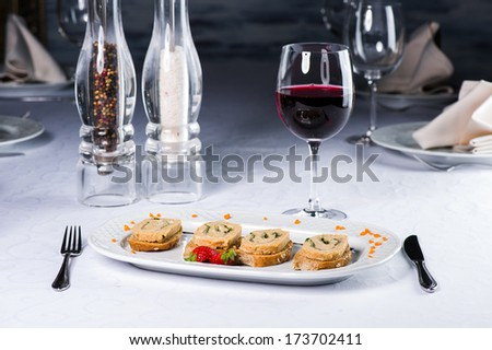 Small sandwiches with paste from small rabbit - stock photo
