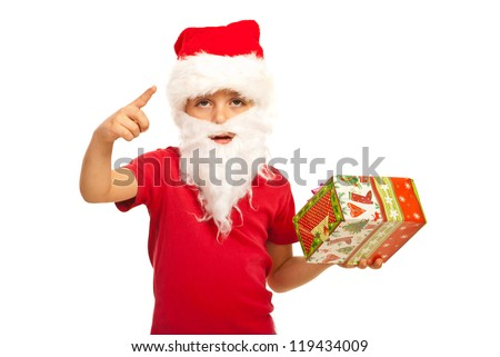 Small Santa Claus boy indicate with his finger isolated on white background - stock photo