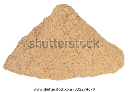 Small sawdust pile brown isolated white background