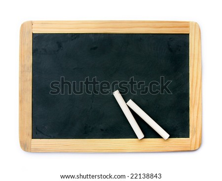 Small school wooden blank blackboard and white chalks isolated on white background - stock photo