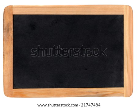 Small school wooden blank blackboard isolated on white background - stock photo